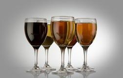 Glaces avec du vin Images libres de droits