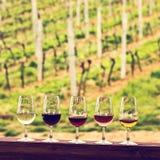 Glaces avec du vin Vin rouge, rose, blanc en verres Photos libres de droits