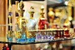 Glaces colorées en verre d'or Images stock