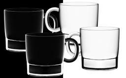 Glaces dans le contre-jour sur le noir et blanc Photo stock