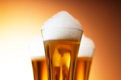 Glaces de bière d'isolement Photographie stock