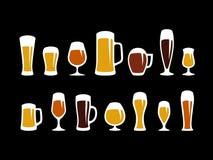 glaces de bière réglées Photographie stock
