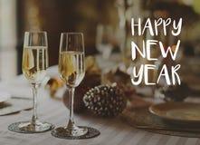 Glaces de champagne d'an neuf heureux Photo libre de droits