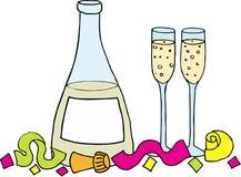 glaces de champagne de bouteille Photo libre de droits