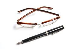 Glaces de stylo-plume et d'oeil images libres de droits