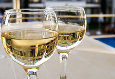 Glaces de vin blanc Images stock