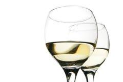 Glaces de vin blanc d'isolement Images stock