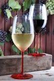 Glaces de vin blanc et rouge Photos stock