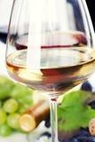 Glaces de vin blanc, rouge et rosé et de raisins Image libre de droits