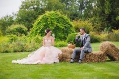 Glaces de vin de fixation de mariée et de marié Photographie stock