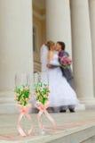 Glaces de vin de mariage Photos libres de droits