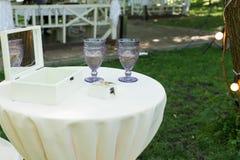 Glaces de vin Deux verres de vin royaux lilas de vintage mariage Photographie stock libre de droits
