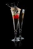 Glaces de vin mousseux et de fraise Photo stock