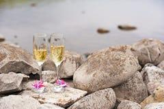 glaces de vin sur la plage rocheuse Images stock