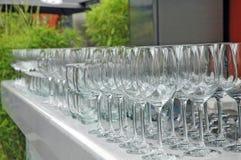 Glaces de vin vides Degustation de vin Photographie stock libre de droits