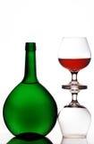 Glaces et bouteille de cognac Images libres de droits