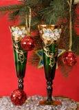 Glaces sur une table de fête d'an neuf Images stock