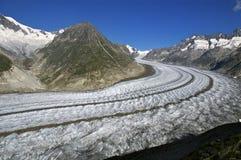 Glaciär av Aletsch, Schweiz Fotografering för Bildbyråer