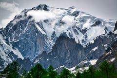 Glaciär av Mont Blanc, Aosta Valley Arkivfoto