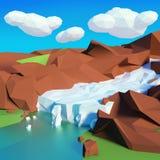 Glaciär i bergen royaltyfri illustrationer
