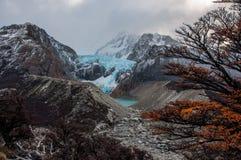 Glaciär i det Fitz Roy Mountain området, Argentina Arkivfoto