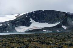 Glaciär i kullarna av jotunheimen arkivbild