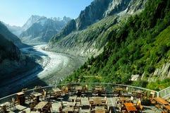 Glaciär Mer de Glace i den Mont Blanc massiven, Frankrike Arkivbilder