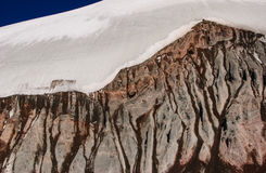 Glaciär och stenras Royaltyfri Fotografi
