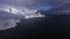 Glaciär på den steniga kusten av Antarktis Andreev lager videofilmer