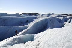 Glaciär som fotvandrar i Island arkivfoton