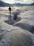 Glaciär som trekking Arkivbilder