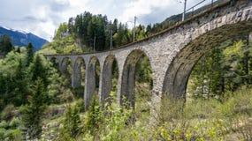 Glaciärdrev på landwasserviaduktbron, Schweiz Royaltyfri Foto