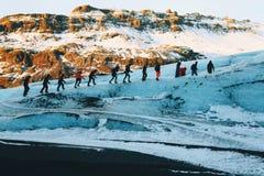 Glaciären går, Solheimajokull, Island Arkivfoto