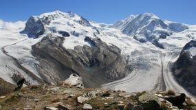 Glaciärlandskap med den svarta galandet royaltyfri bild