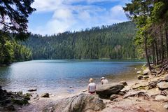 Glacial Black Lake Cerne Jezero, Sumava Mountains, South Bohemian Region, Czech Republic Royalty Free Stock Photos
