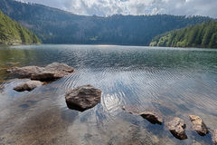 Glacial Black Lake surrounded by the forest Stock Photography