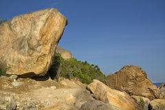 Glacial boulders on beach moraine, Hammonasset State Park, Madis Stock Images