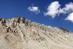 Glacial carved outcrops of rocks near Khardung La (pass) Stock Images