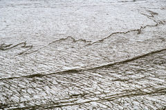 Glacial crevasse. In Skaftafellsjokull with black stripes from erosion, Skaftafell N.P., Iceland Stock Photo