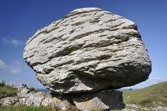 Glacial Erratic Boulder. Limestone Glacial Erratic Boulder, Caher Valley, The Burren Stock Photography