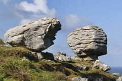 Glacial Erratic Boulders. Limestone Glacial Erratic Boulders, Caher Valley, The Burren Stock Photography