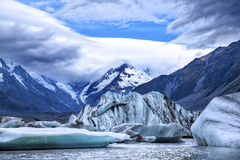 Glacial ice. On the Tasman Glacial Lake _ New Zealand Stock Image