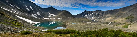 Glacial Lake. Mountain lake in glacial moraine. Panorama from multiple images Stock Photos
