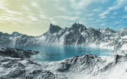 Glacial Lake. This image shows a Glacial Lake with snow Royalty Free Stock Photo