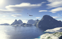 Glacial lake. A glacial lake with a flying eagle stock illustration