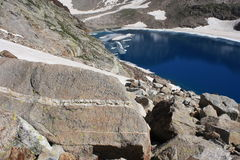 Glacial lake in Aragon Pyrenees Stock Images