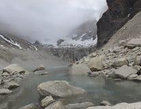 Glacial lake, Cuernos del Paine, Torre del Paine National Park,. Lake from glacier melt in Cuernos del Paine massif, Torre del Paine, Chile stock image