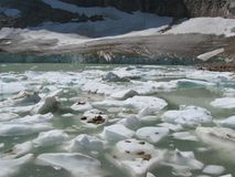 Glacial Lake. In Mount Edith Cavell royalty free stock images
