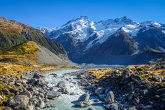 Glacial lake in Hooker Valley Track, Mount Cook, New Zealand. Glacial lake, Hooker Valley Track, Mount Cook, New Zealand Royalty Free Stock Photography