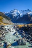 Glacial lake in Hooker Valley Track, Mount Cook, New Zealand. Glacial lake, Hooker Valley Track, Mount Cook, New Zealand Royalty Free Stock Photos
